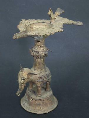 FINE ANTIQUE BRONZE INDIAN HINDU TRIBAL OIL LAMP . ELEPHANT COLUMN & BIRD betty