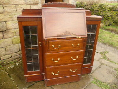 1930/50s Mahogany Side By Side With Writing Bureau/Bookcases and Drawers