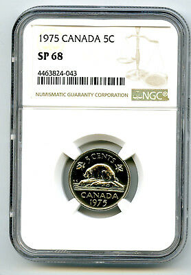 1975  Canada 5 Cent Ngc Sp68 Specimen Strike Nickel Extremely Rare Top Pop=4
