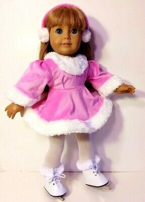 18 Inch Doll Clothes PINK Ice Skating Dress SKATES Earmuffs+ fits American Girl