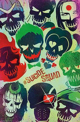SUICIDE SQUAD Movie Poster - FACES - New Suicide Squad movie poster FP4185