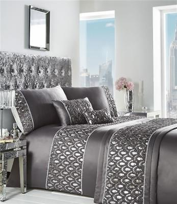 KING SIZE DUVET SET Grey charcoal & silver sequin soft luxury quilt cover bed se