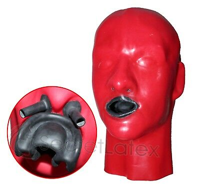 Latex Red Rubber Gummi Hood Long Gimp Mouth Sheath Fetish Anatomical Male Mask