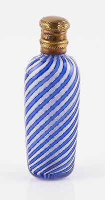 antique 19th Century French Clichy filigrana blue and white glass scent bottle