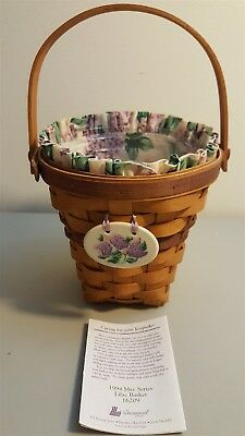 Longaberger 1994 May Series Lilac Basket 16209 With Liner Protector & Tie On