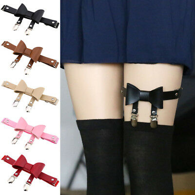 Chic Women Ladies Faux Leather Bowknot Leg Garter Belt Elastic Punk Thigh Ring M