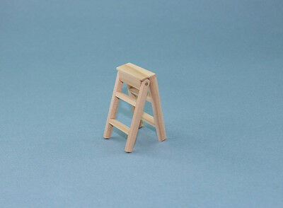 1/12 Scale Dollhouse Miniature Small Wooden Folding Stepladder #XV30098