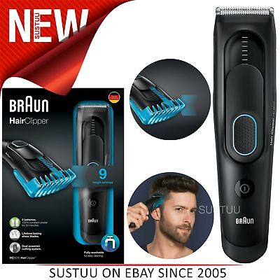 Braun Cordless Hair Clipper/Treamer│Washable-Rechargeable│9Length Setting│HC5010
