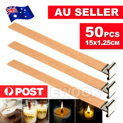 50X Wooden Candle Wicks Core Supplies With Sustainer DIY Soap Making for Party