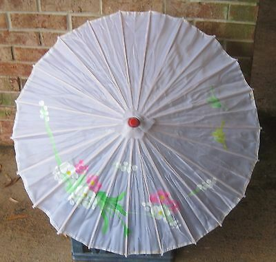 Vintage Hand Painted SILK Oriental PARASOL with Bamboo Shaft EXCELLENT Shape!!!!