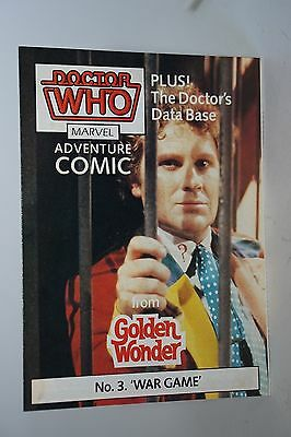 Doctor Who GOLDEN WONDER MARVEL ADVENTURE COMICS N.3 di 6 1986