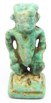 Ancient Egyptian Late Period Turquoise Glaze Faience Ptah Amulet c. 713 - 332 BC
