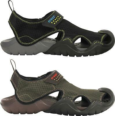 Crocs SWIFTWATER Mens Summer Textile Mesh Closed Toe Touch Fastened Sandals