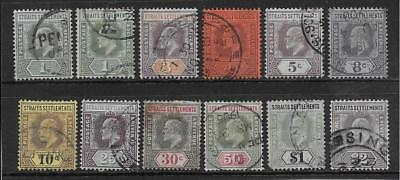 Straits Settlements  Sg 110/20  1902/3 Wmk Crown Ca Set To $2   Good/fine Used