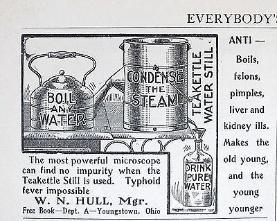 1903 TEAKETTLE WATER STILL health & safety TYPHOID PREVENTION Vtg Print Ad 3089