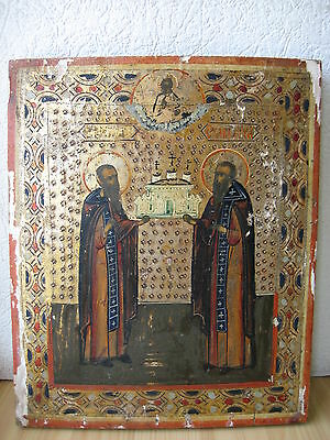 Ikone,Antique Russian Orthodox icon ,,Zosima and Savvatiy,, from 19c.