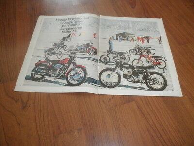 Vintage HARLEY-DAVIDSON AD From 1968-Two Page Gem +Cards