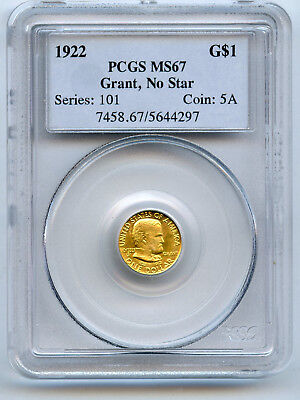 1922 Gold $1 Grant No Star Commemorative PCGS MS 67 Original Mint Luster