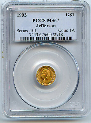 1903 Gold $1 Jefferson Commemorative PCGS MS 67 Superior Rim Toning