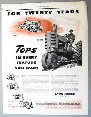 Original 1944 John Deere Ad 20TH ANNIVERSARY .. TOPS IN EVERY FEATURE YOU WANT