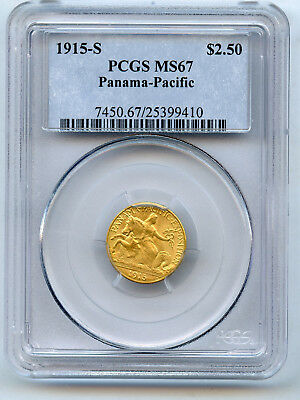 1915-S Gold $2 1/2 Panama-Pacific Commemorative PCGS MS 67 Original Nice Luster