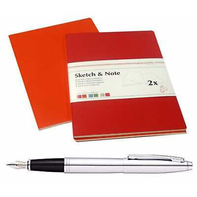Hahnemühle Sketch/Note Booklets A6 Cerise with Cross Fountain Pen (Chrome)