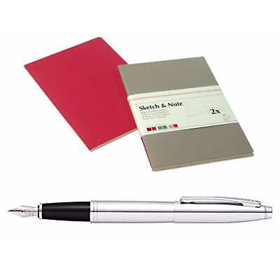 Hahnemühle Sketch & Note Booklets A6 w/ Cross Fountain Pen Polished Chrome
