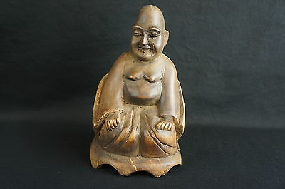 """Great antique/ vintage chinese carved wood sitting figurine 7"""" [Y8-W7-A9]"""