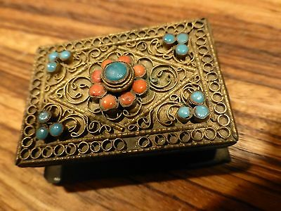 Superb Antique / vintage Nepal brass book with coral Filigree [Y8-W6-A9]