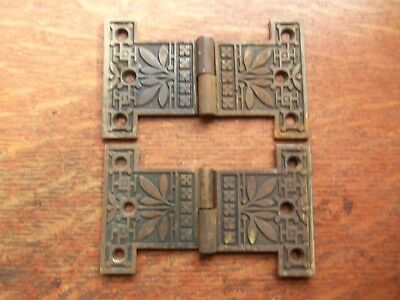Two Antique Victorian Fancy Ornate Cast Iron/Brass Cupboard Door Hinges c1885