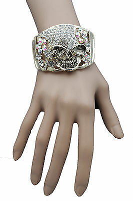 New Women Gold Metal Cuff Bracelet Pirate Skeleton Skull Halloween Bling Jewelry
