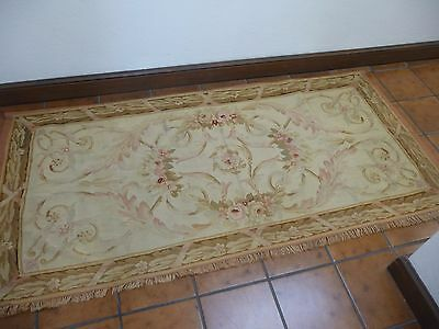 ANTIQUE FRENCH HANDMADE AUBUSSON TAPESTRY - FLORAL & LEAF DESIGN - EARLY 1900's