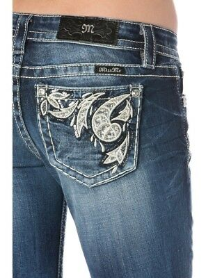 Miss Me Jeans Signature Boot Cut Sparkly Beaded Rhinestone Design 29 x 34