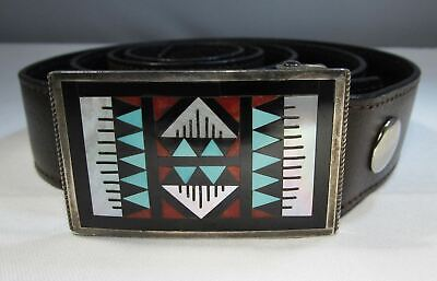 ESTATE Vintage Signed ZUNI Leander & Lisa Othole Buckle Leather Belt C060