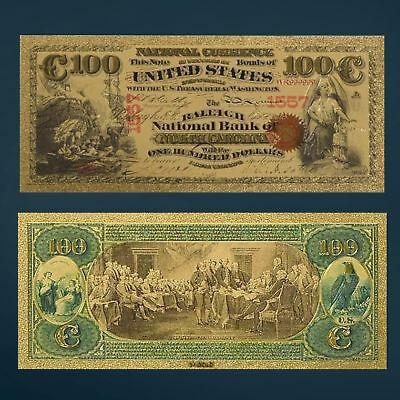 Gold Foil Plated 1875 $100 Dollar Bill Banknote Novelty Money W/sleeve