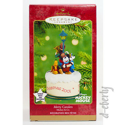 2001 MERRY CAROLERS Mickey Mouse NM/VSD BOX NEW Hallmark Disney Pluto Ornament