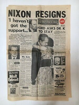 The Herald Nespaper August 9Th 1974 Nixon Resigns Headline - 14 Pages