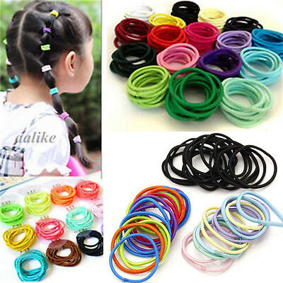 100PCS Multicolor Elastic Rubber Hair Ties Band Rope Ponytail Holder Scrunchie