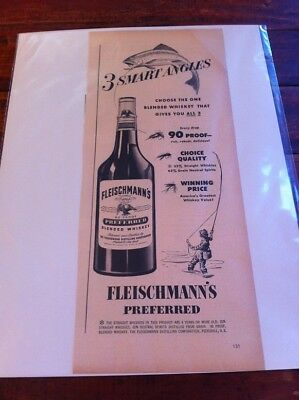Vintage 1949 Fleischmann's Whiskey 3 Smart Angles Trout Fly Fishing Theme Art ad