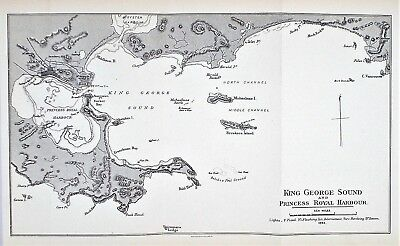 OLD ANTIQUE MAP CHART AUSTRALIA KING GEORGE SOUND PRINCESS ROYAL HARBOUR c1893