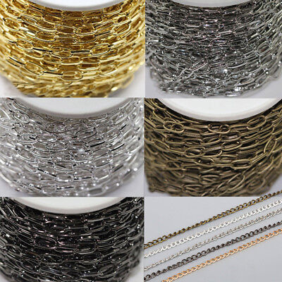 DIY CRAFT 5M Iron 5 COLOR Solid Metal Chains Jewelry Findings 3x4mm