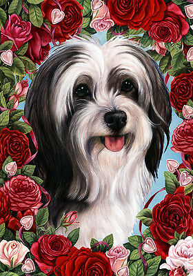 Garden Indoor/Outdoor Roses Flag - Black & White Tibetan Terrier 194781