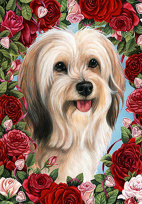 Garden Indoor/Outdoor Roses Flag - Fawn & White Tibetan Terrier 194791