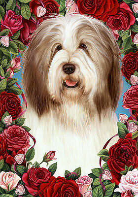 Garden Indoor/Outdoor Roses Flag - Brown & White Bearded Collie 194821