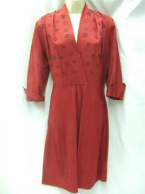 1940's Burgundy Dress with Hand Beading Vintage Size 14 Immaculate