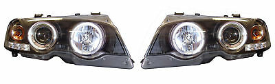 For BMW 3 Series E46 2Dr 98-03 Black Angel Eye Projector Headlights Halo LED