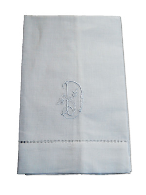 Large White Linen Guest Hand Bathroom Towel monogrammed initial Y hemstitched