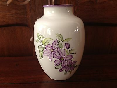 AK Emperor Germany, Fine Vase, White Porcelain with Clematis
