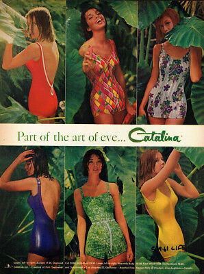 1961 Catalina Swimwear Vintage Original Laminated Ad Art
