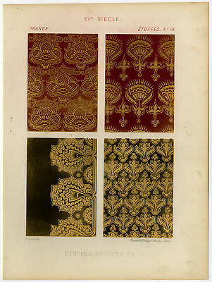 Antique Print-FABRIC-GILT EMBROIDERY-FRENCH-15TH CENTURY-Sere-1858